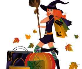 Witch giving halloween gift vector