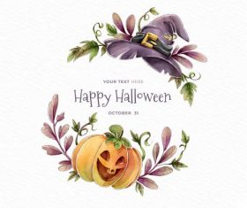Wizard hat and pumpkin halloween card vector