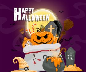Wizard hat and pumpkin tombstone halloween illustration vector
