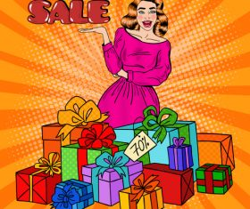 Woman and holiday gift pop art vector