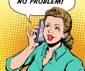 Woman answering the phone pop art illustration vector
