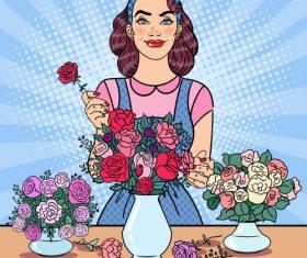 Woman flower arrangement cartoon vector