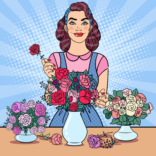 Woman flower arrangement cartoon vector