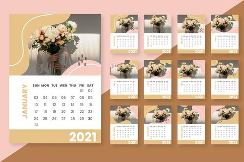 Woman holding bouquet cover 2021 calendar   vector