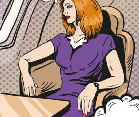 Woman in the cabin cartoon vector