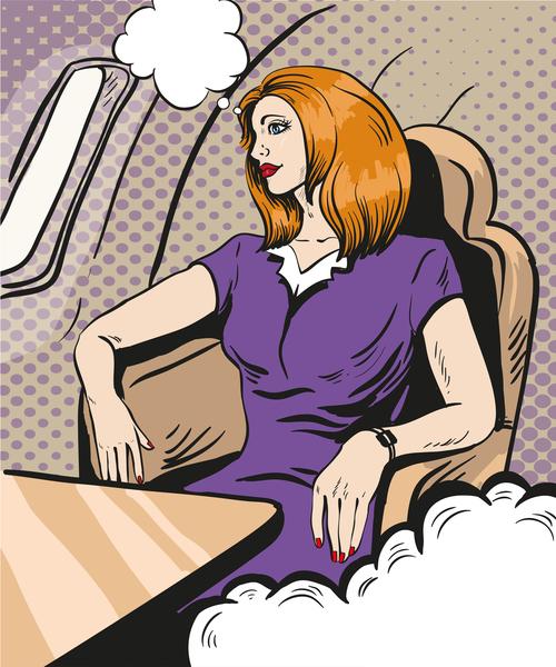 Woman in the cabin cartoon vector