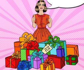 Woman receiving gift pop art vector
