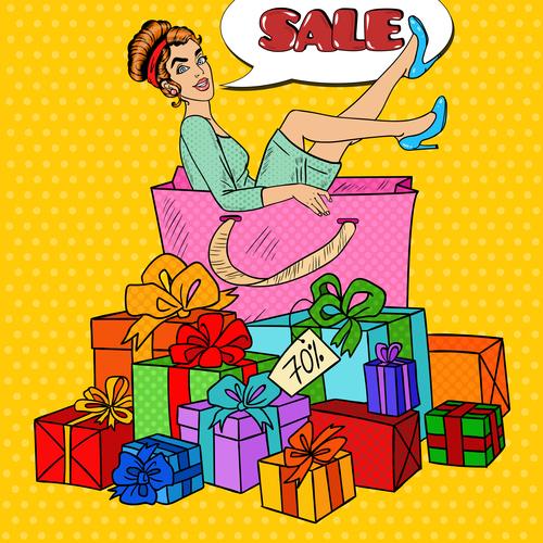 Woman sitting in huge gift box pop art vector