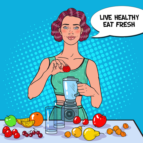 Woman squeezing juice cartoon vector