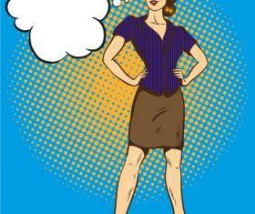Woman standing with arms akimbo vector