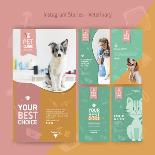 Your best choice veterinary clinic flyer vector