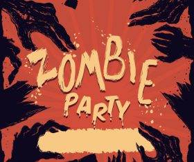Zombie Party Poster Illustration Vector