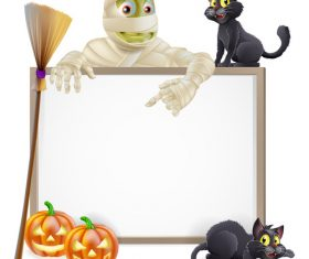 Zombie black cat and white board vector