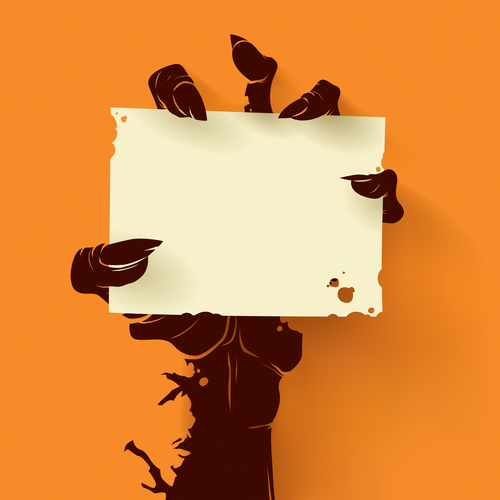 Zombie card plain vector