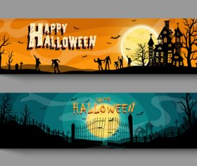 Zombie halloween banner illustration vector