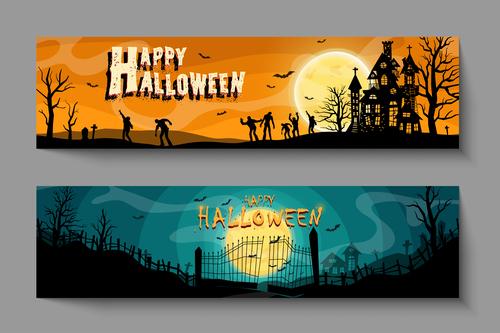 Zombie halloween banner illustration vector