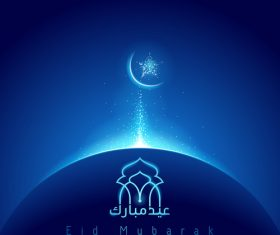eid mubarak glow mosque dome vector