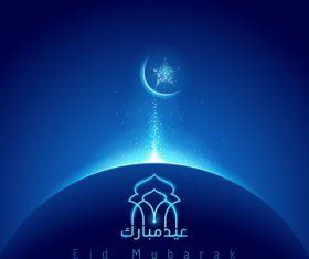 eid mubarak glow mosque dome vector
