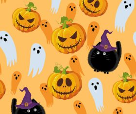 halloween cat witch pumpkin ghost orange vector