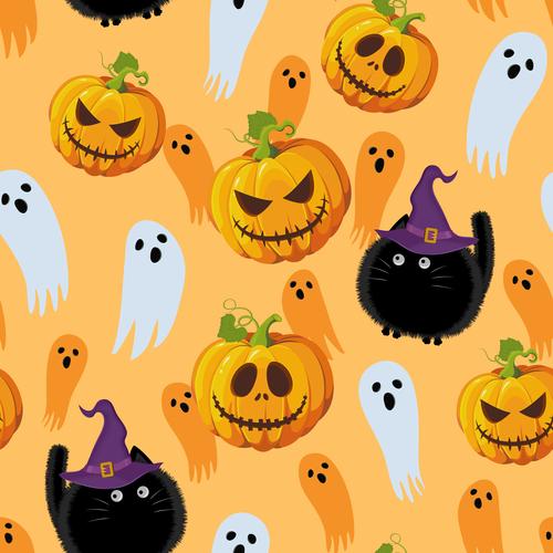 halloween cat witch pumpkin ghost orange vector