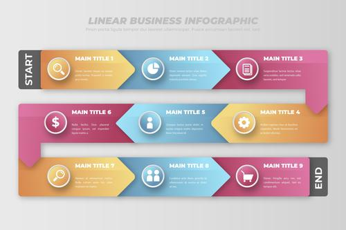 linear business infographic vector