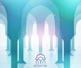 mosque pillars for greeting background with arabic calligraphy and text Eid Mubarak vector