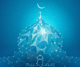 ramadan kareem line mosque dome mosaic for greeting vector
