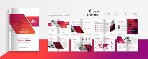 16 page brochure design vector