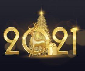 2021 gold christmas card vector