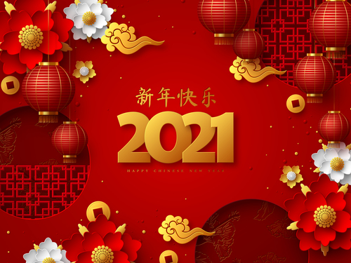 2021 happy new year chinese style vector