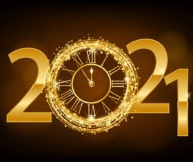 2021 new year clock vector
