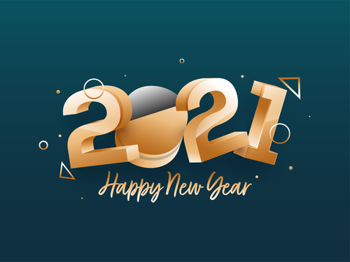 2021 new year color building blocks text design vector