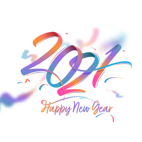 2021 new year color text design vector