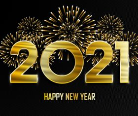 2021 new year fireworks background vector
