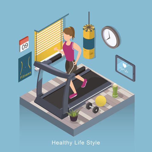 3D healthy life style concept vector
