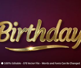 3d birthday editable text style effect vector