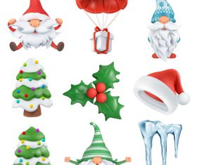 3d christmas element icon vector