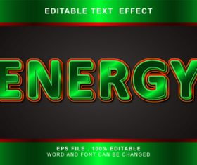 3d green editable text style effect vector