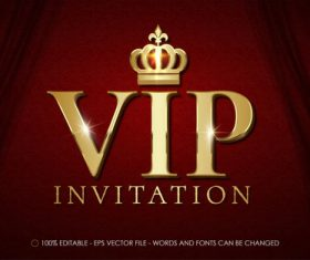 3d invitation editable text style effect vector