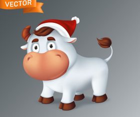 A bull with a christmas hat cartoon icon vector
