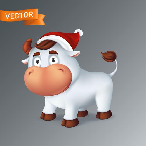 A bull with a christmas hat cartoon icon vector