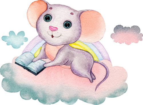 A mouse reading a book watercolor illustration vector