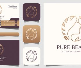 Abstract female avatar business card logo vector