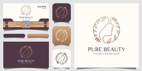 Abstract female avatar business card logo vector