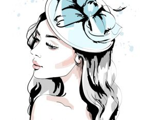 Accessories watercolor illustration vector on female head