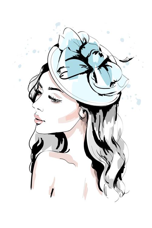 Accessories watercolor illustration vector on female head
