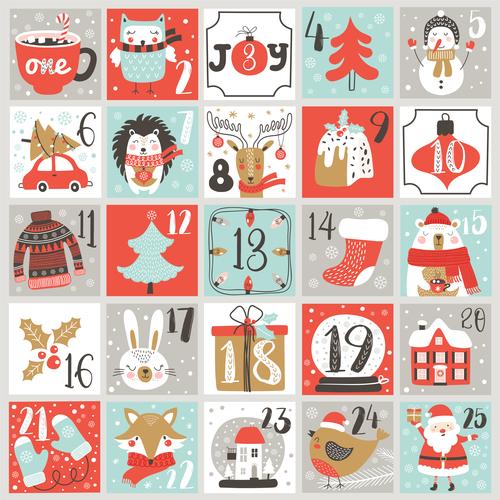Advent Christmas calendar vector