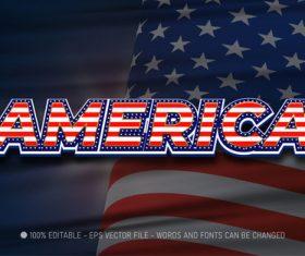 America 3d editable text style effect vector