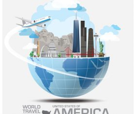 American famous tourist attractions concept vector