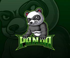 Angry panda esport logo design vector
